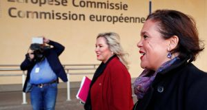 Sinn Féin leader, Mary Lou McDonald, and Deputy Leader, Michelle O'Neill , arrive for a meeting with EU Chief Brexit Negotiator, Michel Barnier. Photograph: Reuters/Francois Lenoir
