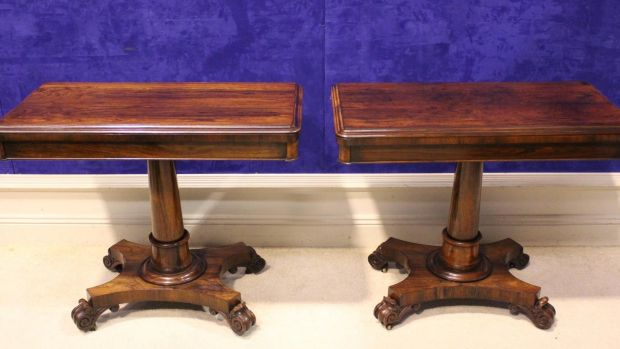 Pair of fine Rosewood fold-over card tables, Hegartys Auction (€3,000-€5,000)