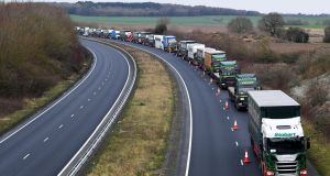 Empty lorry charade: Goods vehicles with no goods form an orderly queue in Kent to demonstrate how the road will cope in a no-deal Brexit. Photograph: Toby Melville/Reuters