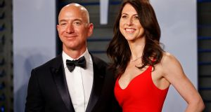 Amazon CEO Jeff and wife MacKenzie Bezos arrive at  the Oscars Vanity Fair party in Beverly Hill, California after the 89th Academy Awards  last March. Photograph: Reuters/Danny Moloshok/File Photo