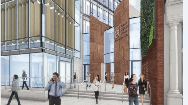Artist's impression of the entrance to Trinity's new business school on Pearse Street. Photograph: TCD