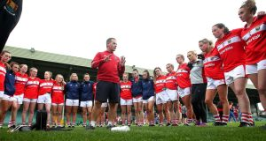 Cork manager Ephie Fitzgerald talks to his team. In truth, it is another rebuild for Ephie and his management. Photograph: Bryan Keane/Inpho