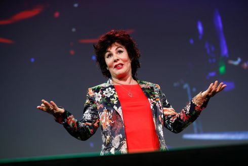 WAXING LYRICAL: Comedian Ruby Wax on the main stage at the Pendulum Summit. Photograph: Conor McCabe