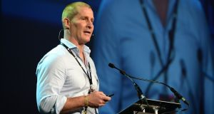 Leinster rugby coach Stuart  Lancaster addressing the Pendulum Summit at the  Convention Centre, Dublin. Photograph: Dara Mac Dónaill