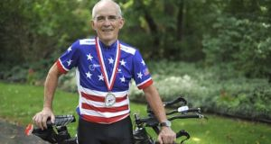 Carl Grove pictured with his bike in 2010: 'Us old guys are kind of like peanuts. I think that they're wasting their time'. Photograph: Ryan ML Young/AP