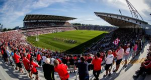 Cork and Kerry players parade before the Munster football final at Páirc Uí Chaoimh in Cork last summer. Photograph: Ryan Byrne/Inpho