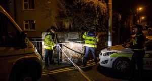 Gardaí at the scene of the shooting at St Laurence's Terrace in Bray. Photograph: James Forde