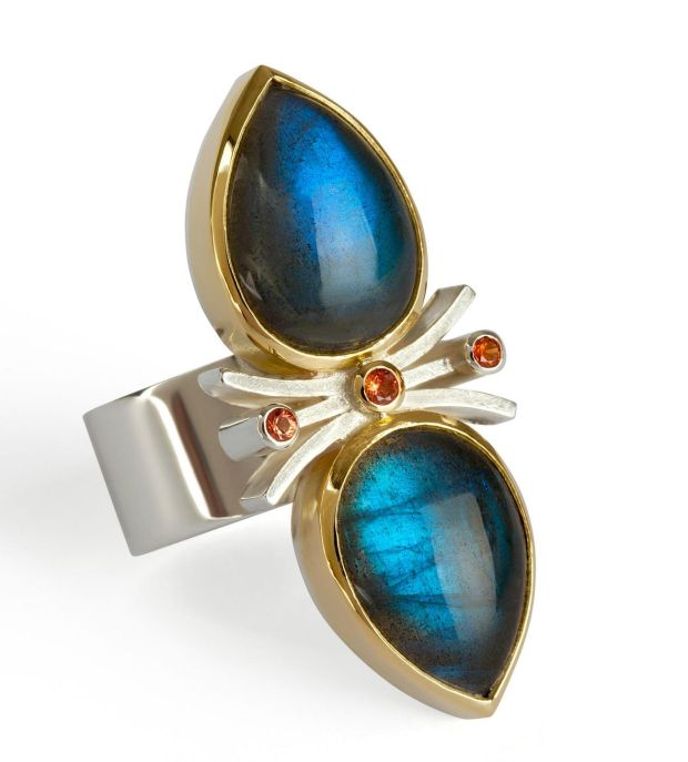 Forged silver and 18ct gold labradorite dress ring with orange sapphire by Yvone Ross €1,490