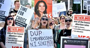 Campaign group Solidarity with Repeal holds a rally calling for abortion rights outside Belfast City Hall, last May. Photograph: Charles McQuillan/Getty Images
