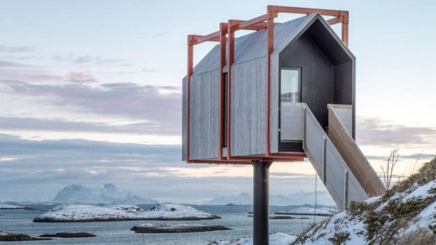 This cabin on stilts on a small island in the Arctic archipelago of Fleinvær is available for holiday rentals this year.