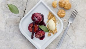 Vanessa Greenwood's baked plums. Photograph: Harry Weir