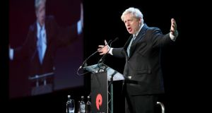 Tory MP and prominent Brexiteer Boris Johnson addresses the Pendulum Summit in Dublin. Photograph: Conor McCabe Photography