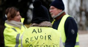 The yellow vests movement started in the middle of November as a protest against a fuel tax but has since grown into a broader backlash against the government. Photograph: Reuters