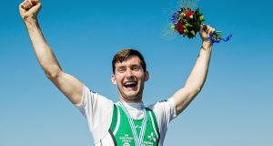 Paul O'Donovan celebrates winning gold in the Men's Lightweight Sculls Final at the World Rowing Championships in Rotterdam in August 2016. Photograph: Herman Dingler/Inpho