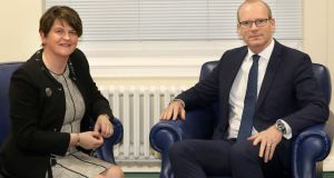 Tánaiste Simon Coveney said he held an 'open and frank discussion' with a DUP delegation led by party leader Arlene Foster but failed to shift their insistence that the disputed Brexit backstop should be dropped. Photograph: PressEye/PA Wire.