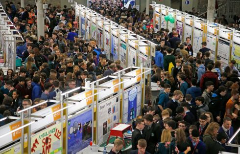 EAGERLY AWAITED: Crowds gather at the RDS for the BT Young Scientist & Technology exhibition. Photograph: Nick Bradshaw for The Irish Times