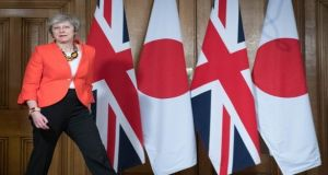 On the day British prime minister Theresa May met Japanese PM Shinzo Abe the embattled Mrs May reached out to two big unions in a bid to build support ahead of next week's meaningful vote. Photograph: Getty Images