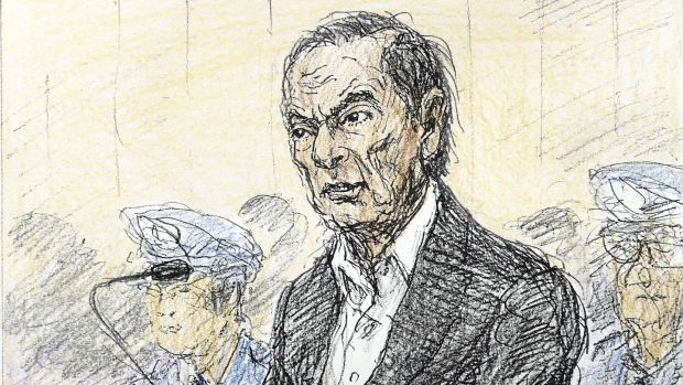 A court sketch shows ousted Nissan chairman Carlos Ghosn at Tokyo District Court on January 8th, 2019. Image: Kyodo/via Reuters