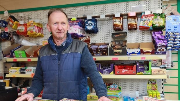 """The aim is to have safe roads for the community"": Mícheál McGrane of Magheracloone in his local shop. Photograph: Pat Byrne"