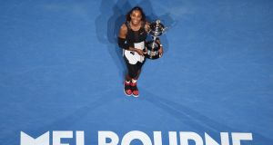 Serena Williams was eight weeks pregnant when she won her last Grand Slam at the 2017 Australian Open in Melbourne. Photograph: Saeed Khan/AFP/Getty Images