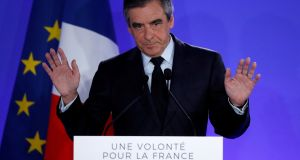 François Fillon was expected to win the top office until it was revealed his wife had received some €600,000 for a fake job. Photograph: Christian Hartmann/Reuters