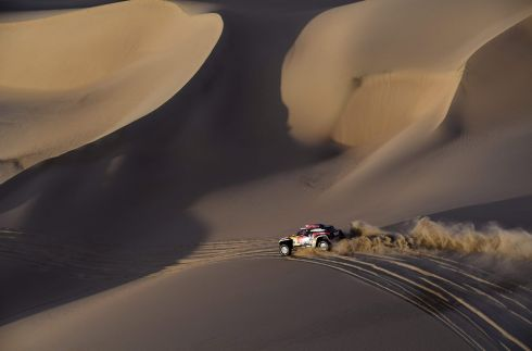 CALL OF THE WILD: Mini's French driver Cyril Despres and co-driver Jean Paul Cottret compete in Stage 2 of the Dakar 2019 rally between Pisco and San Juan de Marcona, Peru. Peugeot's French driver Sebastien Loeb and co-driver Daniel Elena won the stage. Photograph: Franck Fife/AFP/Getty Images
