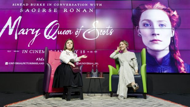 Sinead Burke speaks to Saoirse Ronan at the event in Dublin on Friday. Photograph: Andres Poveda