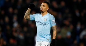 Manchester City's Gabriel Jesus celebrates scoring one of his four goals against Burton Albion at the  Etihad Stadium, Manchester. Photograph:  Reuters/Jason Cairnduff
