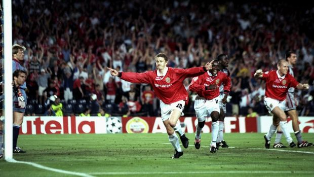 Ole Gunnar Solskjaer of Manchester United celebrates his late winner during the Champions League final against Bayern Munich in 1999. Photograph: Ben Radford /Allsport