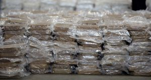 Part of the €37.5m cannabis haul  seized at Dublin Port in 2017. Photograph: Cyril Byrne
