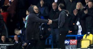 Derby County manager Frank Lampard (right) shakes hands with  Leeds United manager Marcelo Bielsa  prior to the beginning of the  Championship match at Elland Road on Friday night. Photograph:   Simon Cooper/PA Wire
