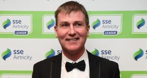 Stephen Kenny at the Airtricity/Soccer Writers' Association of Ireland   awards at the Conrad Hotel in Dublin where he was won the Personality of the Year award. Photograph:   Stephen McCarthy/Sportsfile