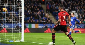 Shane Long of Southampton scores his team's second goal against Leicester City at The King Power Stadium. Photograph: Michael Regan/Getty Images