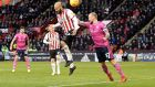David McGoldrick of Sheffield United beats Toni Leistner of Queens Park Rangers to a header to score the winnnig goal at Bramall Lane. Photograph: George Wood/Getty Images