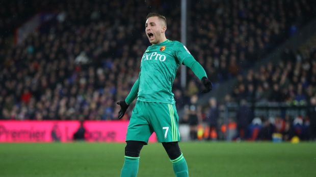 Gerard Deulofeu after scoring against Crystal Palace at Selhurst Park. Photograph: Dan Istitene/Getty Images