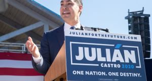 Former United States Secretary of Housing and Urban Development secretary Julian Castro announcing his candidacy for president of the United States in his hometown of San Antonio, Texas. Photograph: AFP/Getty Images