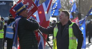 "A Leave supporter arguing with a Remain supporter outside parliament in London.The  police  have been ""briefed to intervene appropriately"" if the law is broken. Photograph:  Jonathan Brady/PA Wire"