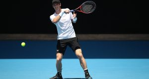 Andy Murray plays a shot during a practice session ahead of the 2019 Australian Open at Melbourne Park. Photo: Scott Barbour/Getty Images