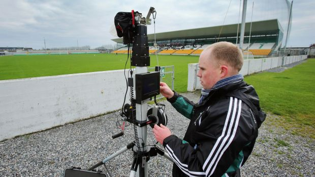 Rob Carroll, performance analyst, setting up his video in Tullamore. His stats s come from having watched 322 matches from the past eight years. Photograph: Cathal Noonan/Inpho