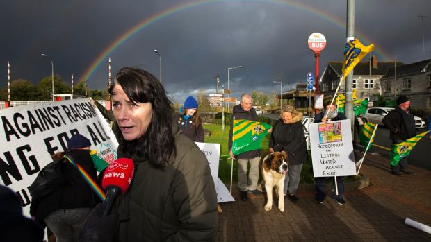 Leah Doherty, one of the rally organisers speaks to the media. Photograph: Brian Farrell