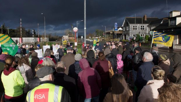 "The rally was organised by ""Leitrim and Roscommon United Against Racism"" who said the gathering was intended to give people from the two counties the opportunity to condemn the suspected arson attack on a hotel in Rooskey earmarked for asylum seekers. Photograph: Brian Farrell"