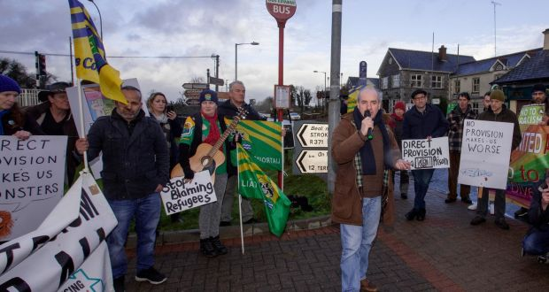 John Lannon from Rooskey  speaks at the rally. Photograph: Brian Farrell