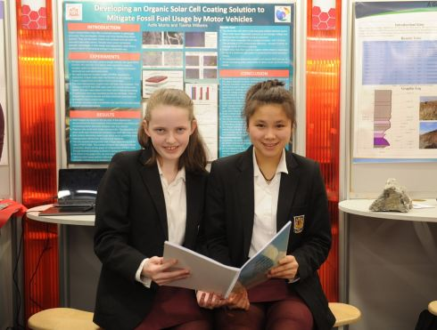 Group Winners - Aoife Morris and Tianha Williams  St. aloysius College in Carrigtwohill, Cork pictured with their project on limiting fossil fuels by developing an organic solar active coating. Photograph: Aidan Crawley For the Irish Times