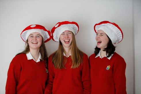 BT Young Scientist & Technologist of the Year 2019 (Day 1).  Hannah rafferty; Aibhin Ruddy & Alice Sexton, Sacred heart, Clonakikty, Cork, - their project was about 'Fear Free Foraging'.  Photograph Nick Bradshaw for The Irish Times