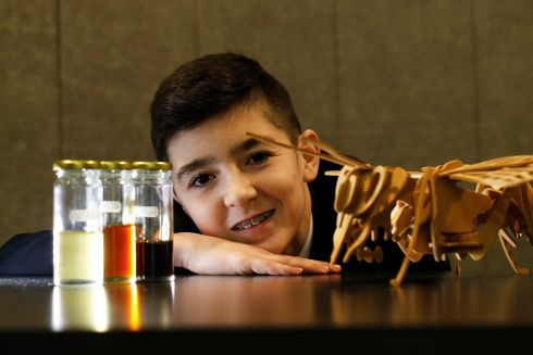 BT Young Scientist & Technologist of the Year 2019 (Day 1). Pictured is 14 year old Rian Byrne, a pupil at Colaiste Chill Mhantain, Wicklow and elements of his project - Will Hydroxymethylfur-Furaldehyde levels in Honey affect (1) The Quality of Honey and (2) Effects of the Honey on Human Health, Rian's project was in the Biological & Ecological Sciences section on this year's competition.  Photograph Nick Bradshaw for The Irish Times