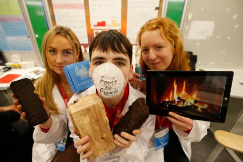 BT Young Scientist & Technologist of the Year 2019 (Day 1). Pictured are Madeline Mitchell; Eoin O'Maille & Roisin McGrath 5th year students at Colaiste Iognaid, Galway at this years competition project was called 'Fools for Fuel's'.  Photograph Nick Bradshaw for The Irish Times