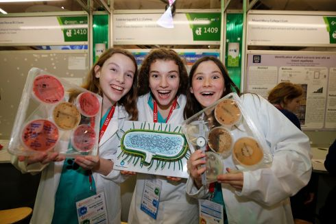 BT Young Scientist & Technologist of the Year 2019 (Day 1). Kate Owens with Aoibhe Briscoe and Ellie Concannon 2nd years students at Colaiste Iognaid SJ, Galway at this years competition.  Photograph Nick Bradshaw for The Irish Times
