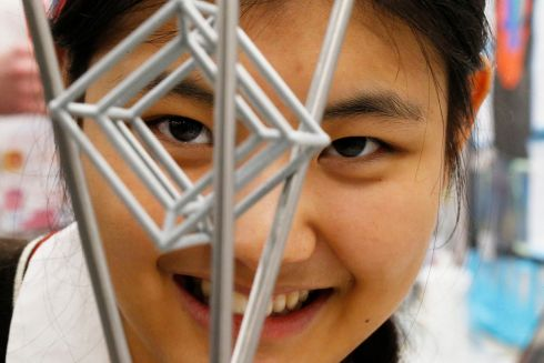 BT Young Scientist & Technologist of the Year 2019 (Day 2). Tianyiwa Xie, a student from Alexander College, Dublin project was 'Intersection of Multidimensional Planes in Projective Geometry.  Photograph Nick Bradshaw for The Irish Times