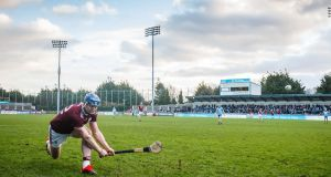 Galway's Joe Canning hits the winning point in the Bord na Mona Walsh Cup semi-final at  Parnell Park. Photograph: Oisín Keniry/Inpho