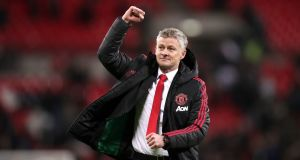Manchester United's interim manager Ole Gunnar Solskjær celebrates victory over Tottenham in the  the Premier League match at Wembley Stadium, London. Photograph: John Walton/PA